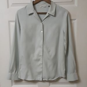 Ann Taylor Sz 8 100% Silk Long Sleeve blouse